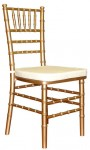 Gold Chiavari Chair w/ Ivory Pad